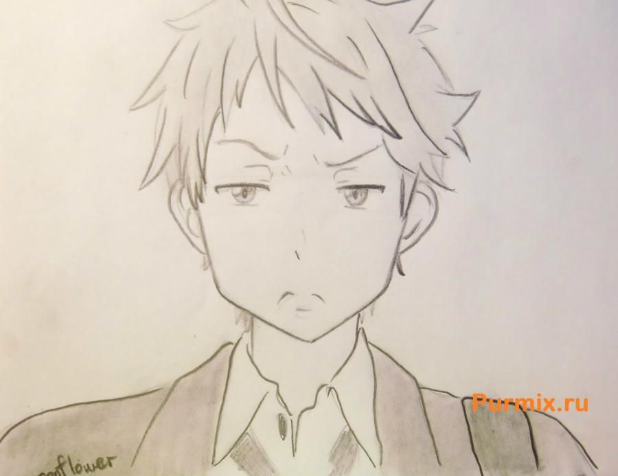 How to draw Akihito Kambar from an anime beyond with a pencil