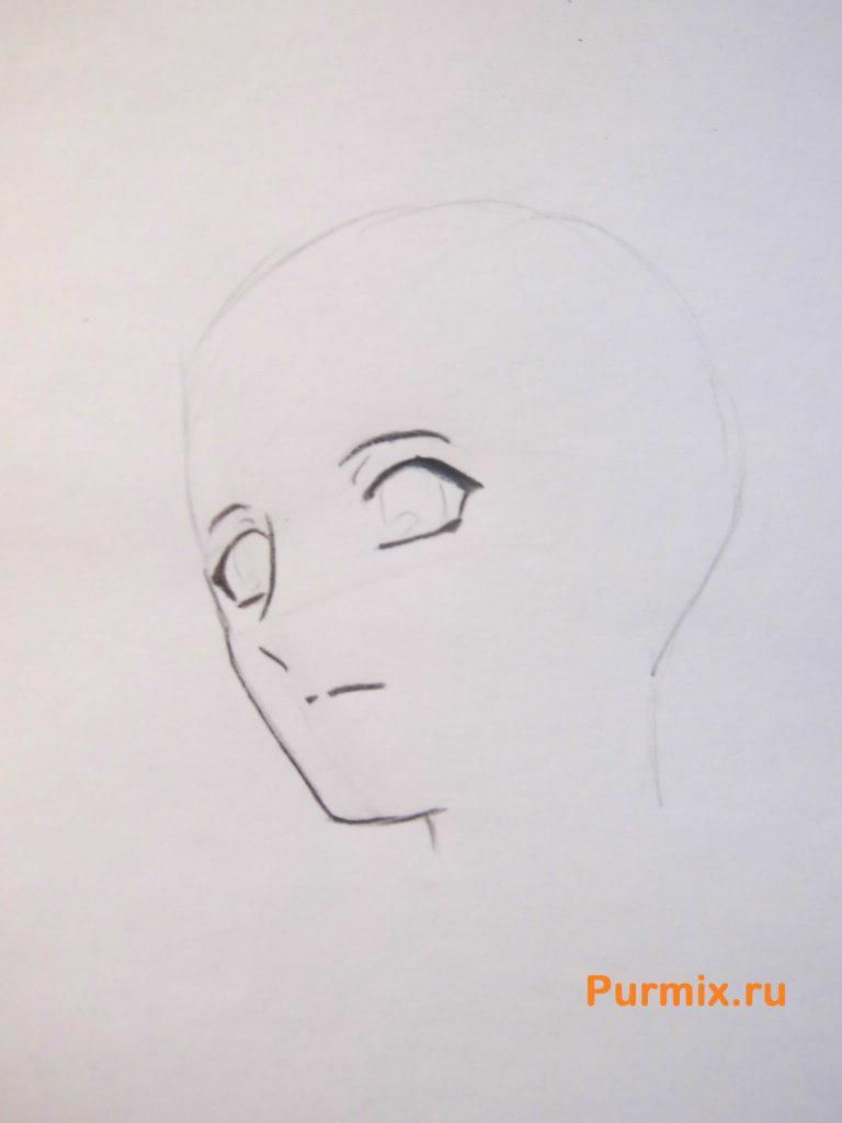 How to draw Sango from Inuyash's anime with a pencil on paper step by step 3