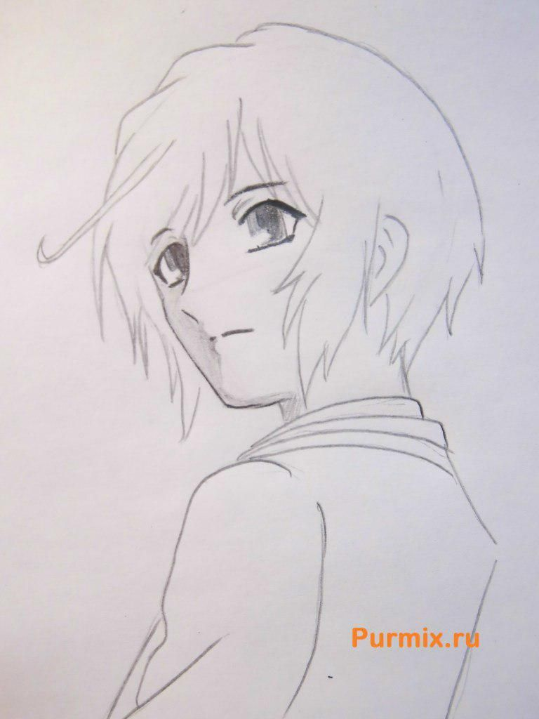 How to draw Sango from Inuyash's anime with a pencil on paper step by step 6