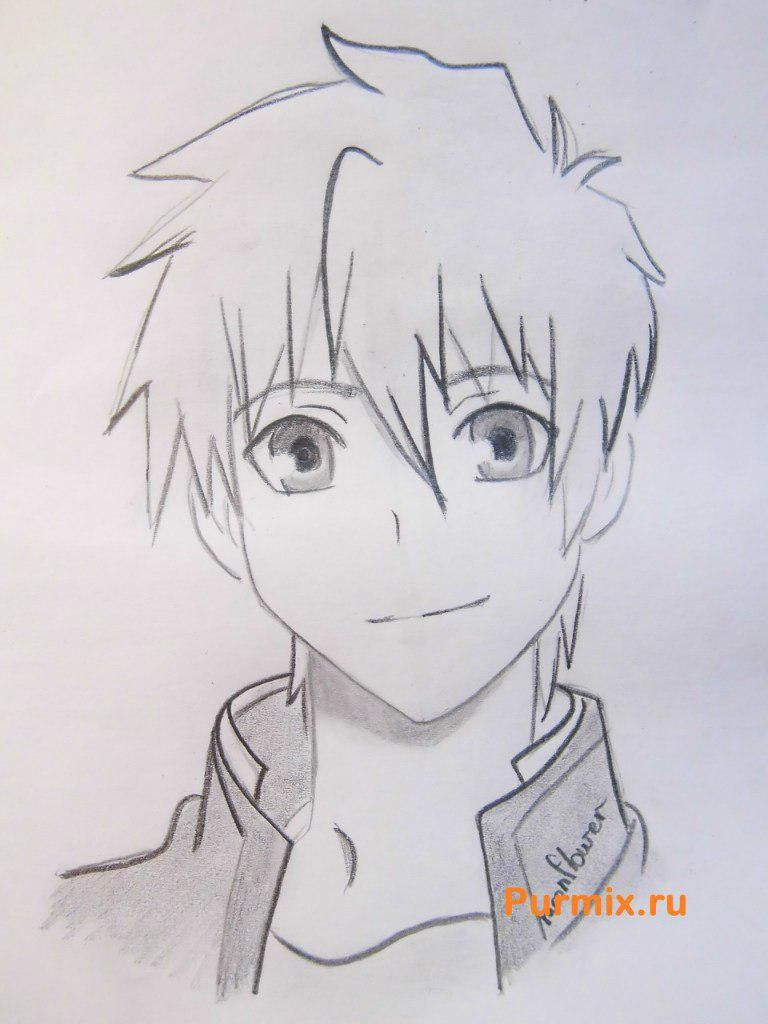 How to draw Kengo Asamur from an anime the Monochrome factor with a pencil