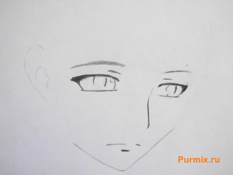 How to draw Mikora from Inuyash's anime with a pencil on paper step by step 3