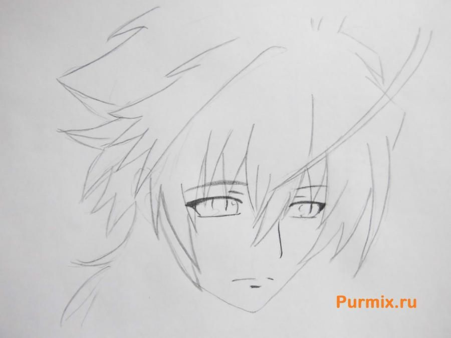 How to draw Mikora from Inuyash's anime with a pencil on paper step by step 4