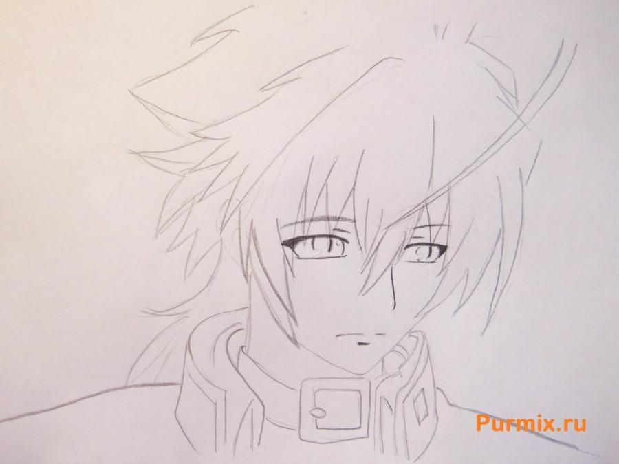 How to draw Mikora from Inuyash's anime with a pencil on paper step by step 5