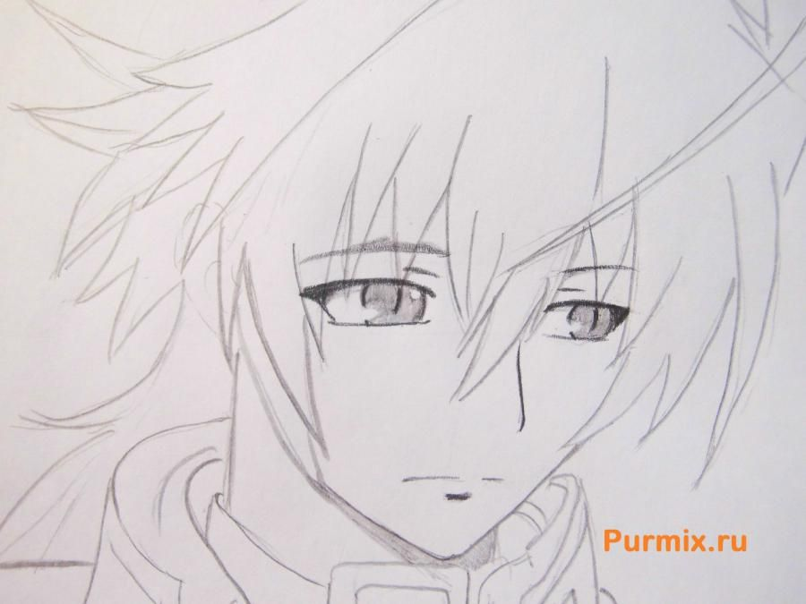 How to draw Mikora from Inuyash's anime with a pencil on paper step by step 6