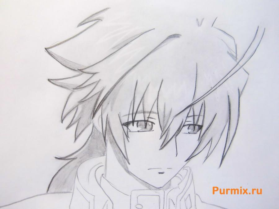 How to draw Mikora from Inuyash's anime with a pencil on paper step by step 7