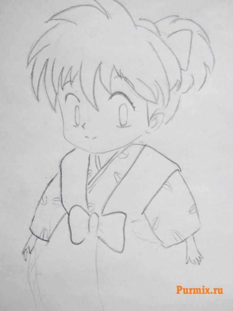 How to draw Inuyasya from an anime of InuYasha with a pencil step by step 6