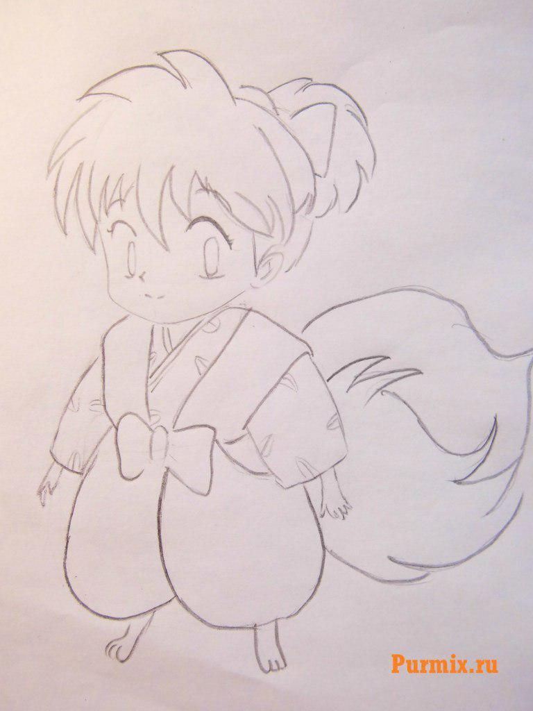 How to draw Inuyasya from an anime of InuYasha with a pencil step by step 7