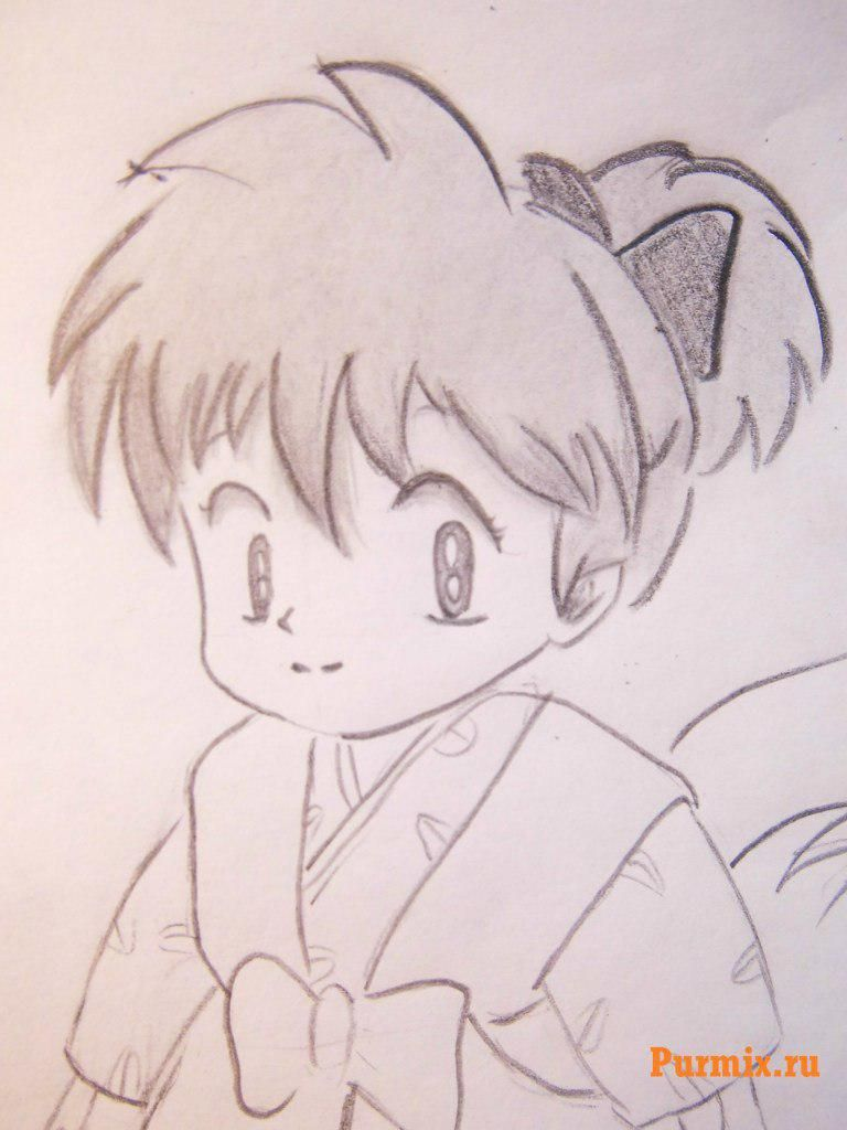 How to draw Inuyasya from an anime of InuYasha with a pencil step by step 9