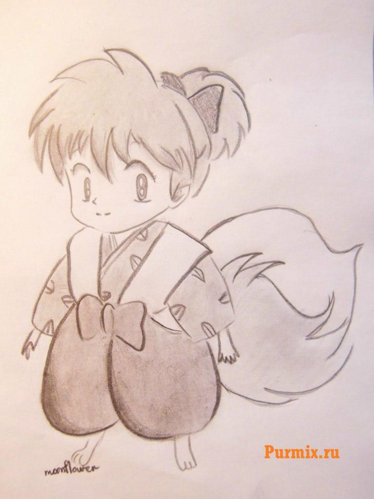 How to draw Sippo from Inuyash's anime with a pencil step by step