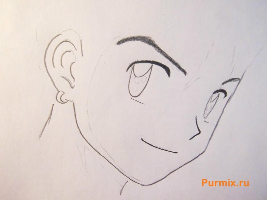 How to draw Edward Elrik from an anime the Steel alchemist with a pencil 3