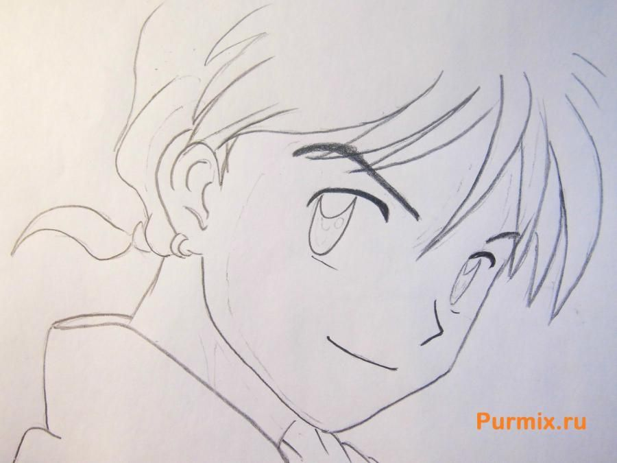 How to draw Edward Elrik from an anime the Steel alchemist with a pencil 5