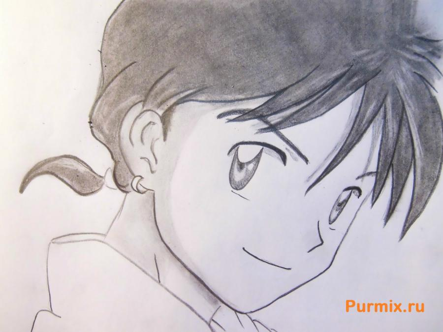 How to draw Edward Elrik from an anime the Steel alchemist with a pencil 7