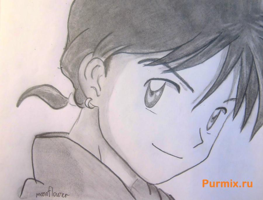 How to draw Mikora from Inuyash's anime with a pencil on paper step by step