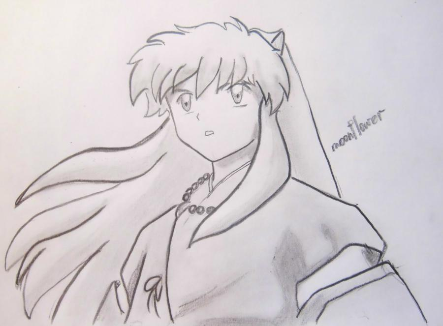 How to draw Inuyasya from an anime of InuYasha with a pencil step by step