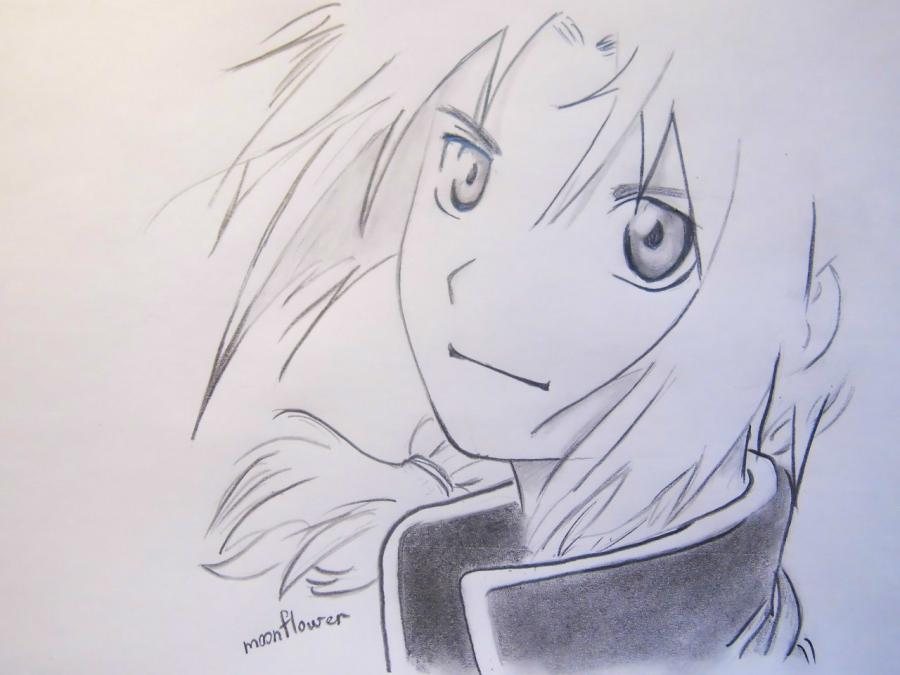 How to draw Edward Elrik from an anime the Steel alchemist with a pencil