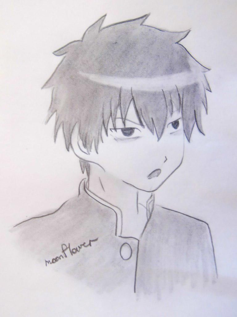 How to draw Tomoki Kuroki from an anime of WataMote with a pencil