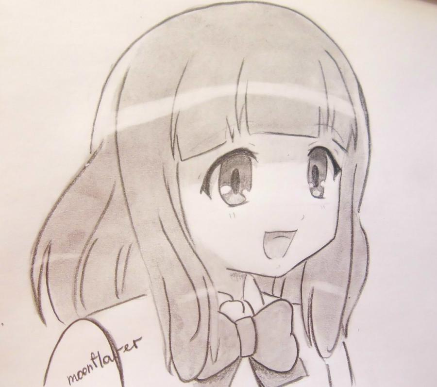 How to draw Yu Naruse from an anime of WataMote with a pencil