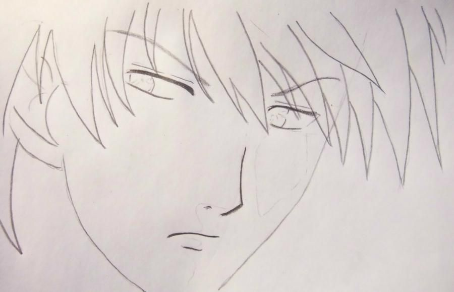 How to draw Ikuto Tsukiyomi from Chara keepers with a pencil step by step 4
