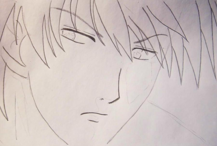 How to draw Ikuto Tsukiyomi from Chara keepers with a pencil step by step 5