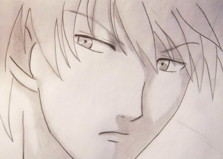 How to draw Ikuto Tsukiyomi from Chara keepers with a pencil step by step 6