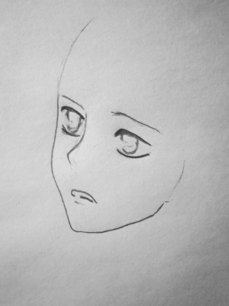 How to draw Hinamori Ama from an anime Chara keepers with a pencil step by step 3