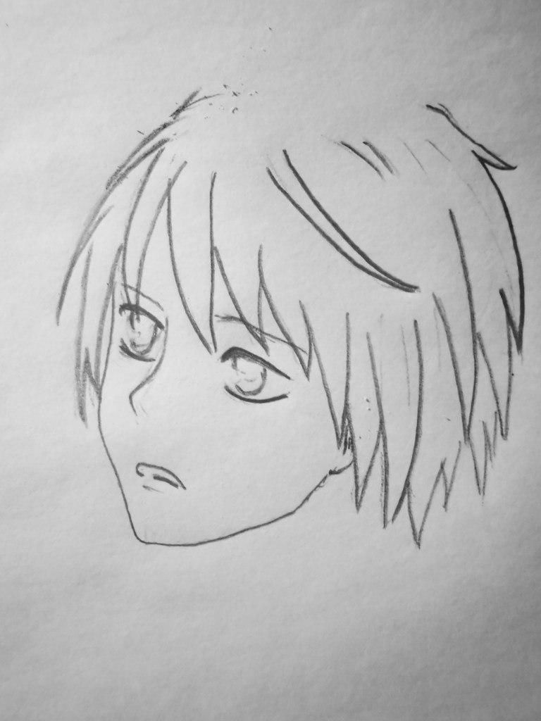 How to draw Hinamori Ama from an anime Chara keepers with a pencil step by step 4
