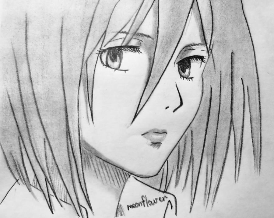 How to draw Mikasa Ackerman from Invasion of giants with a pencil step by step