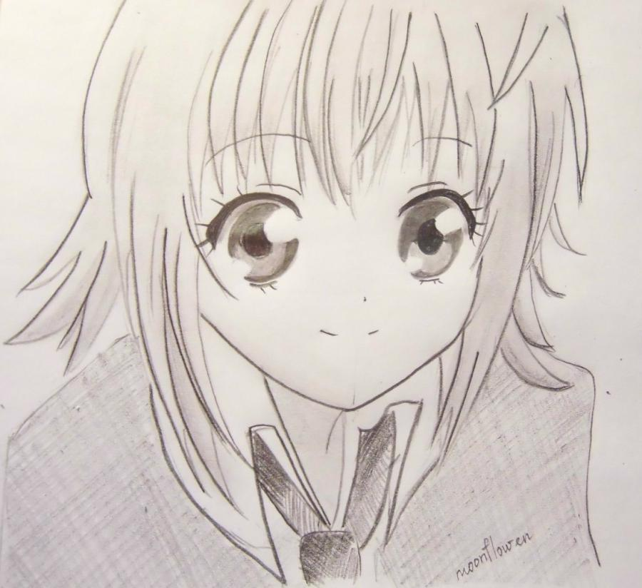 How to draw Hinamori Ama from an anime Chara keepers with a pencil step by step