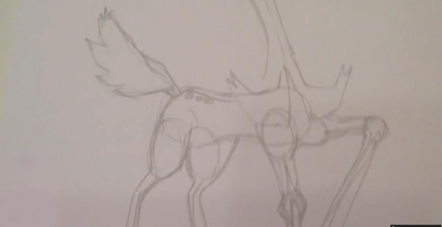 How to draw Fennekin from Pok?mon X and Y pencil step by step 3