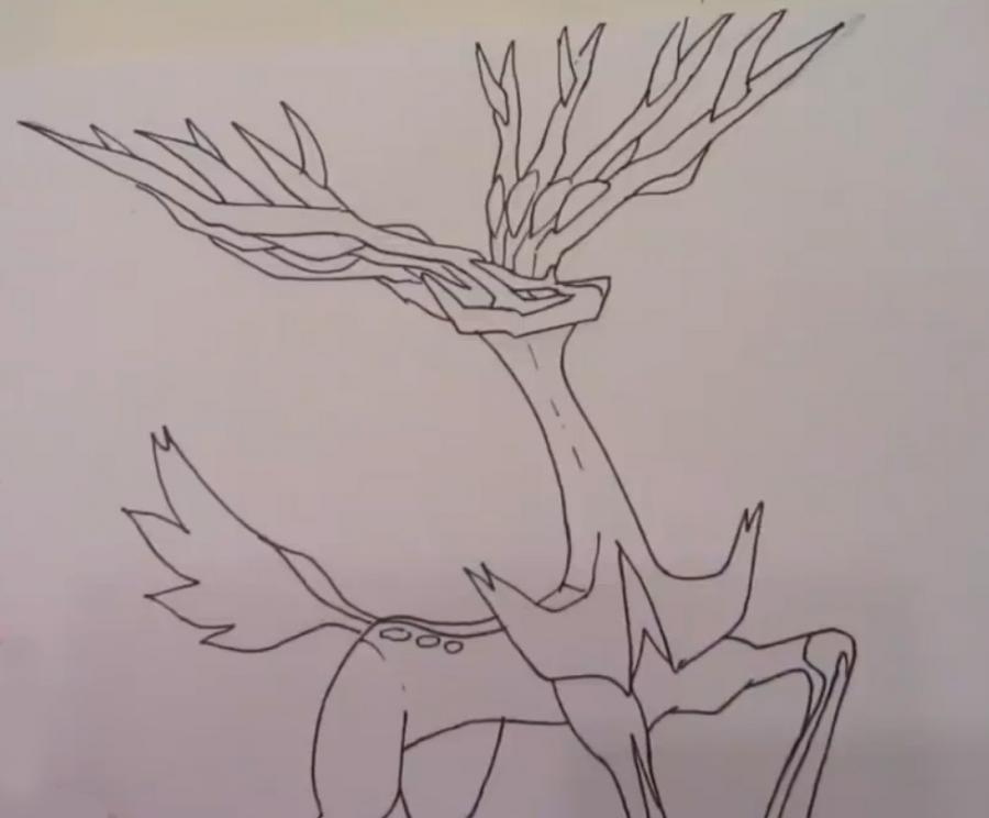 How to draw Fennekin from Pok?mon X and Y pencil step by step 4