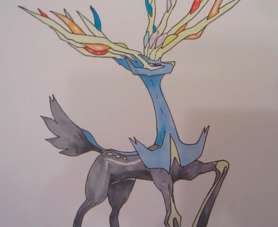 How to draw the Pokemon Kserniya from game Pok?mon X and Y pencil