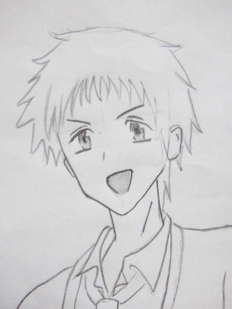 How to draw an anime of girls of schoolgirls with a pencil 6