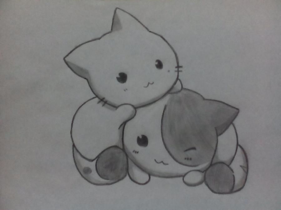 How to draw two nyashny kittens with a pencil step by step