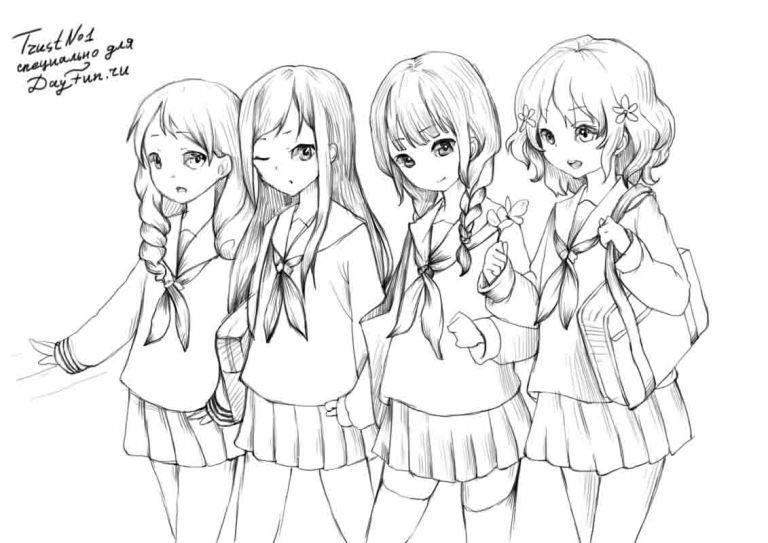 How to draw an anime of girls of schoolgirls with a pencil