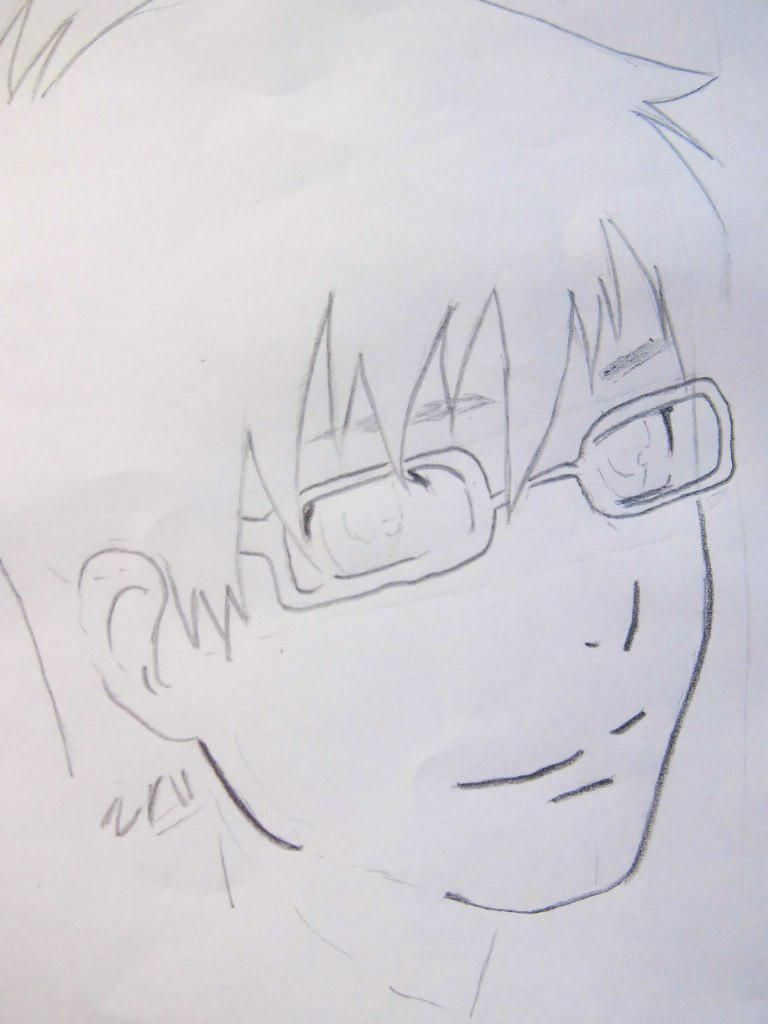 How to draw Siemi Moriyami from Blue Ekzortsist with a pencil 4