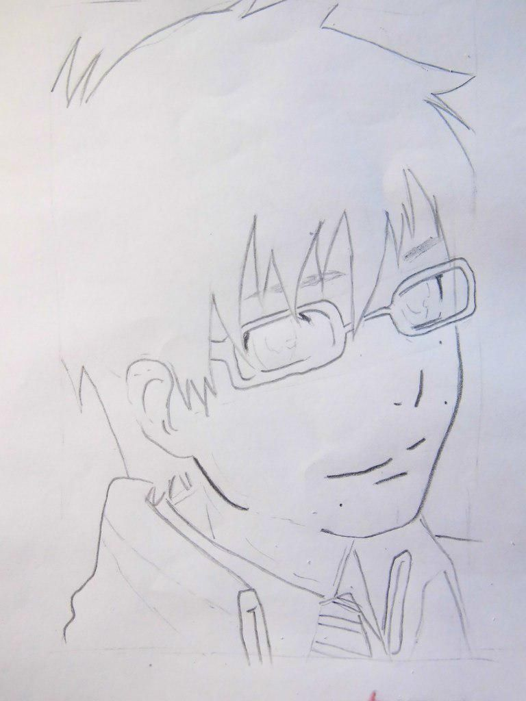 How to draw Siemi Moriyami from Blue Ekzortsist with a pencil 5