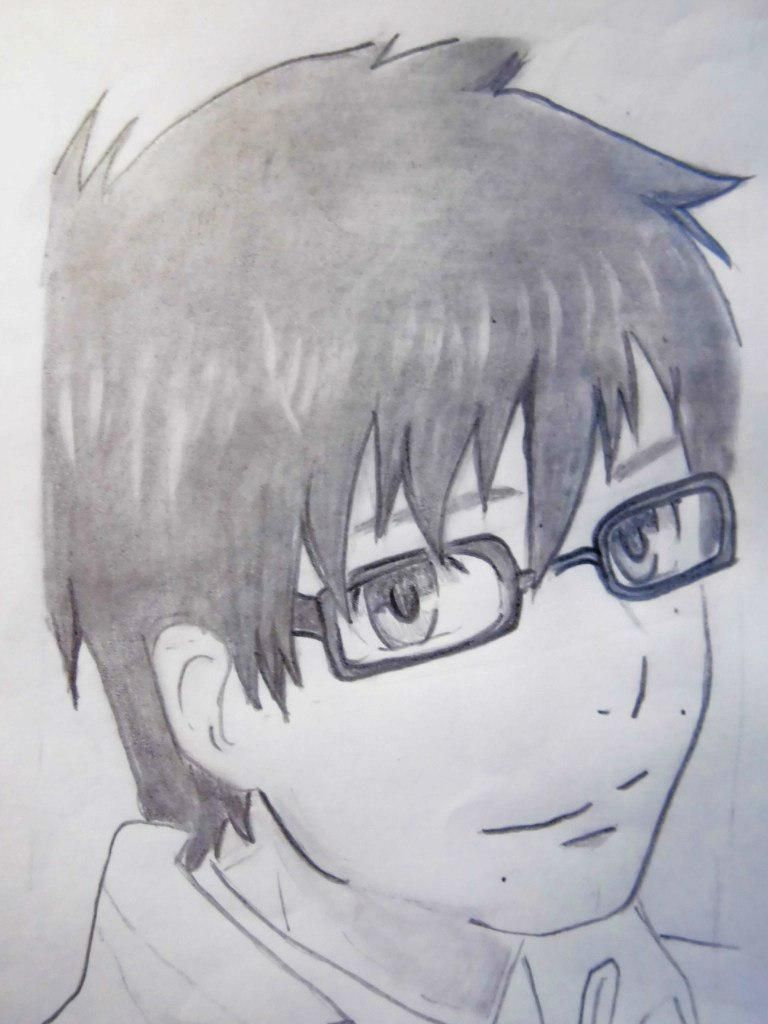 How to draw Siemi Moriyami from Blue Ekzortsist with a pencil 7