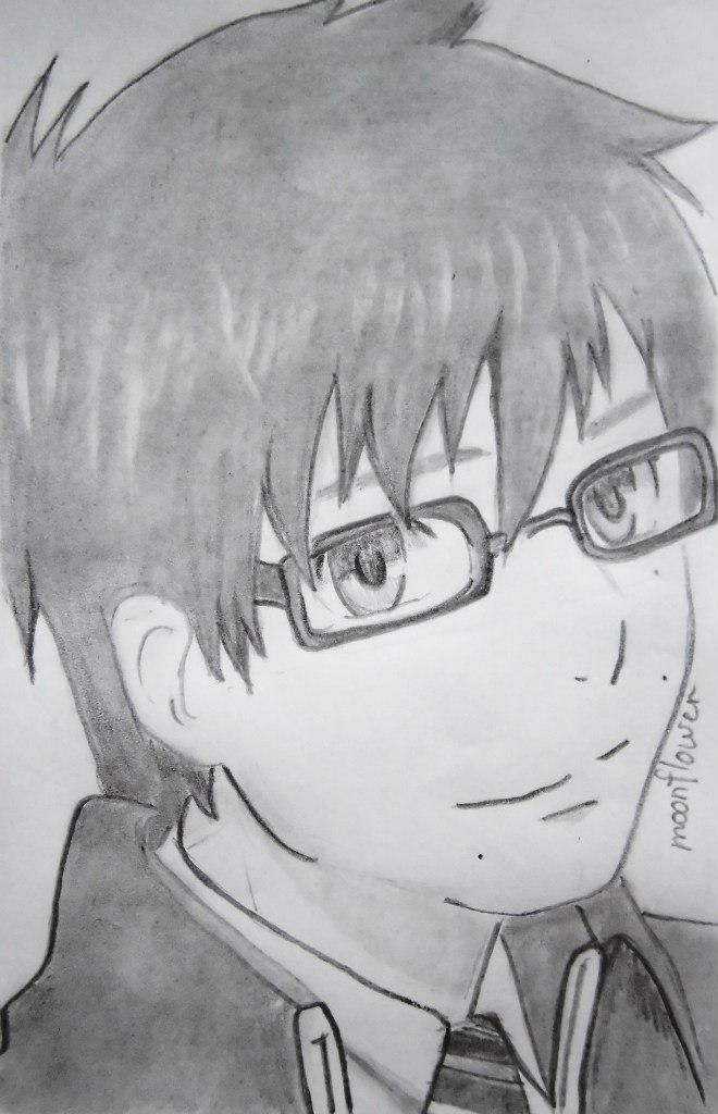 How to draw Yukio Okumur from an anime Blue Ekzortsist step by step