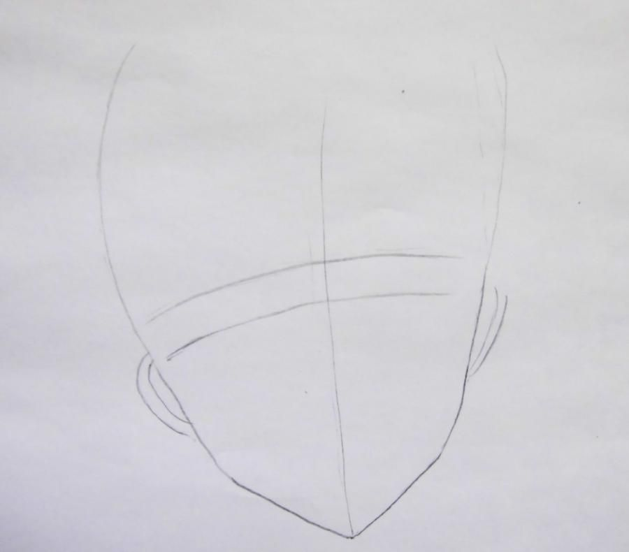 How to draw Yu from an anime Love troubles with a pencil step by step 2