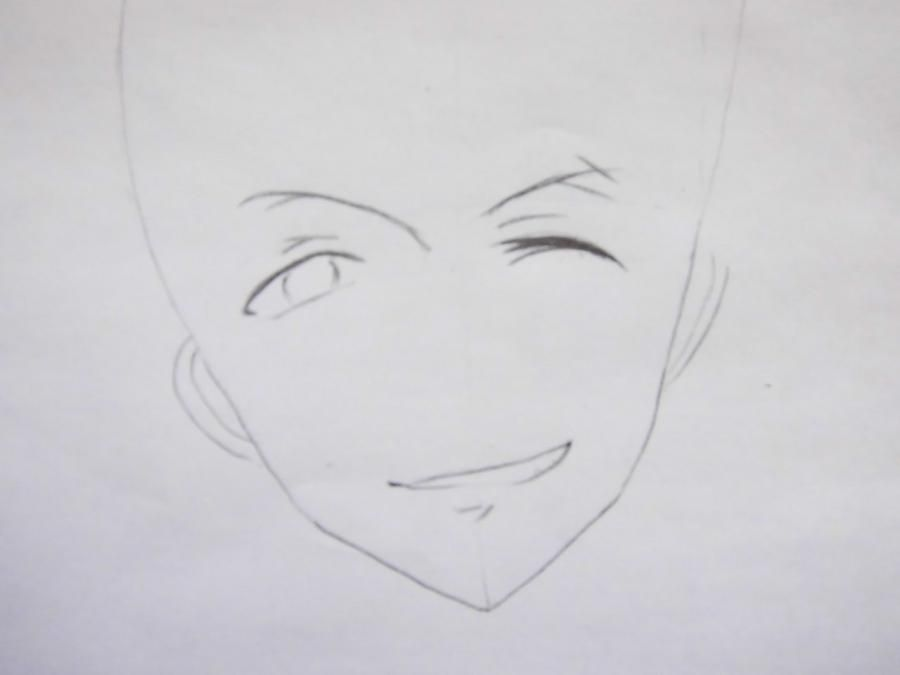 How to draw Yu from an anime Love troubles with a pencil step by step 3