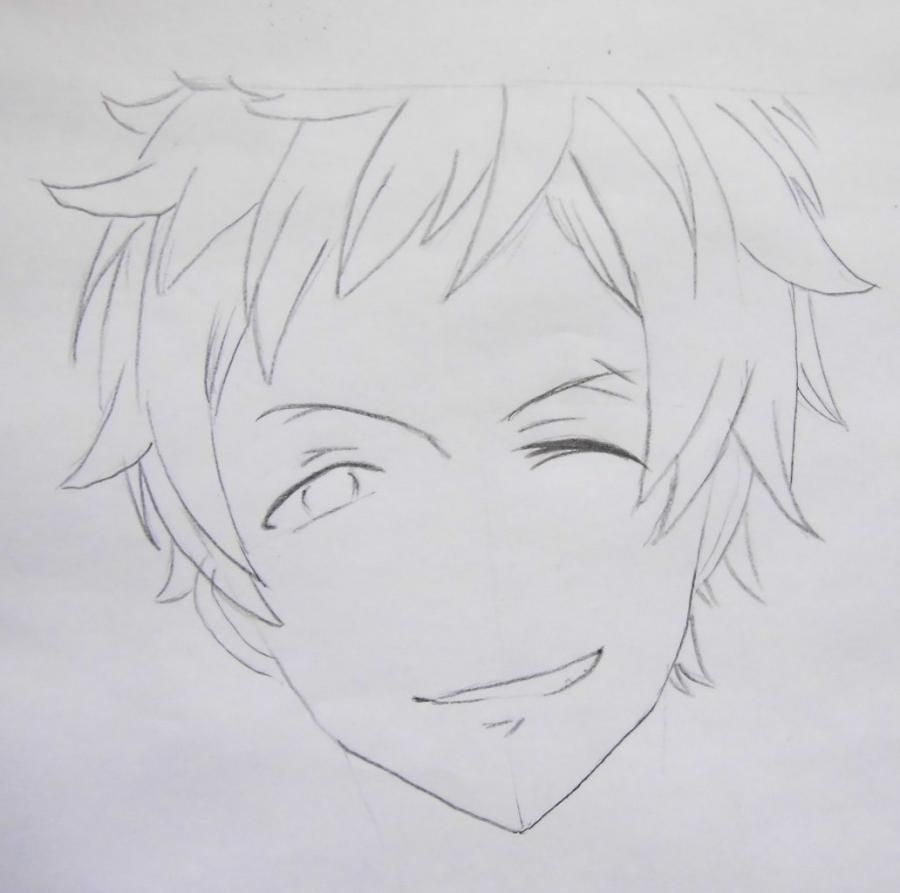 How to draw Yu from an anime Love troubles with a pencil step by step 4