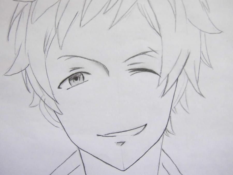 How to draw Yu from an anime Love troubles with a pencil step by step 6