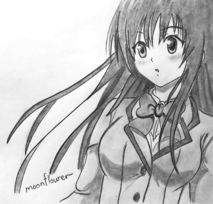 How to draw Yu from an anime Love troubles with a pencil step by step