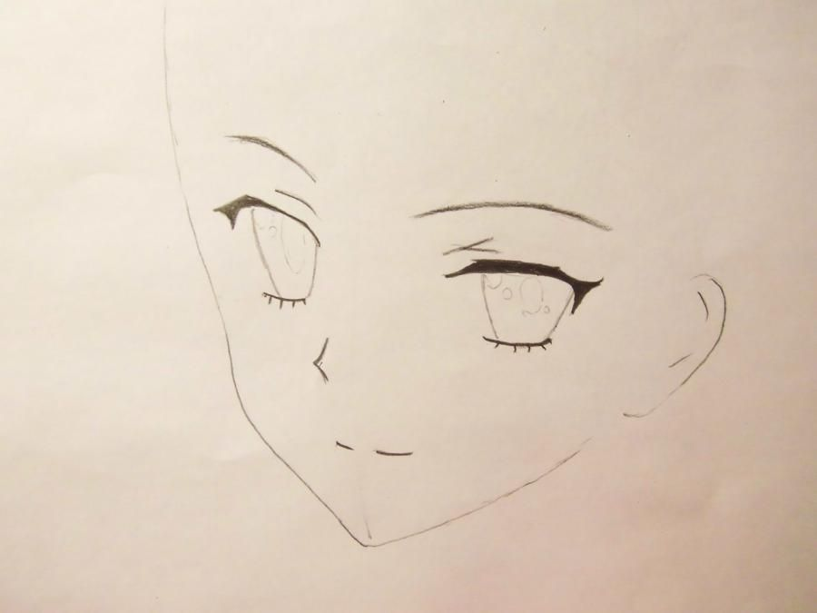 How to draw an anime to steam on a photo with a pencil step by step 3
