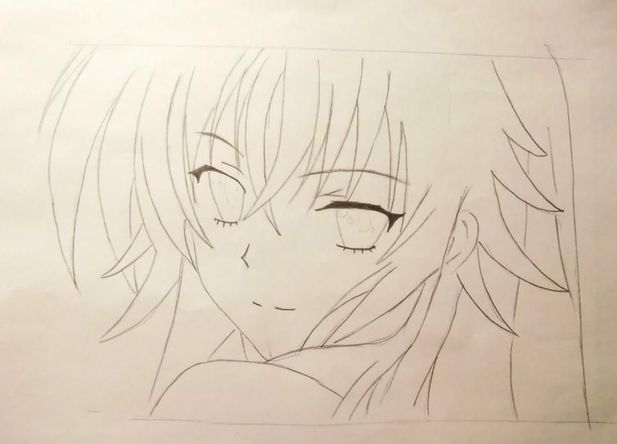 How to draw an anime to steam on a photo with a pencil step by step 4