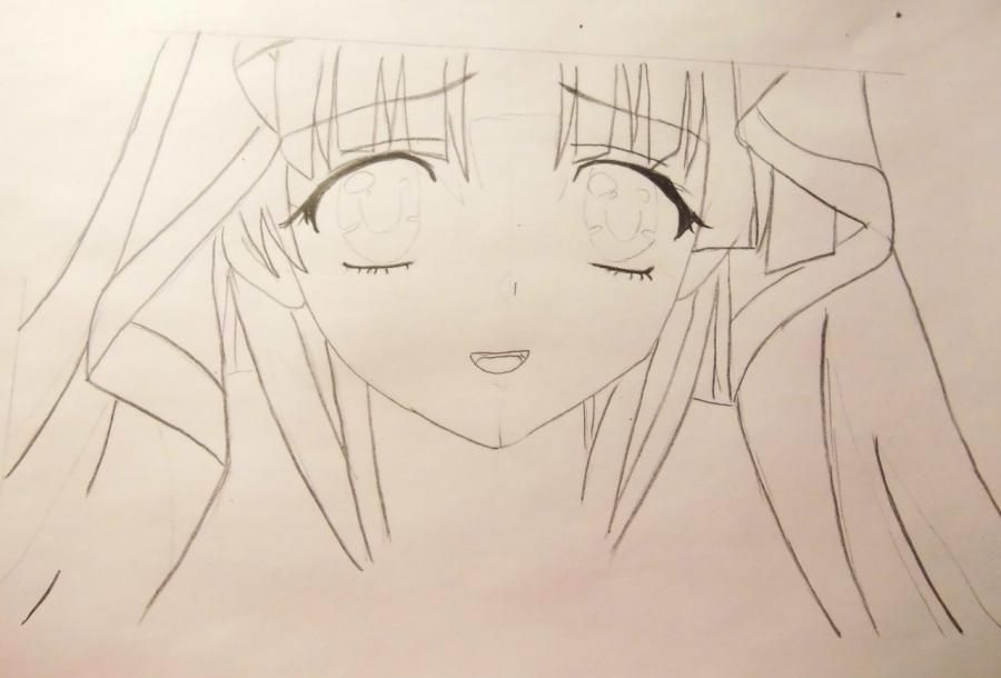How to draw Alice from an anime Pandora's Heart with a pencil 4