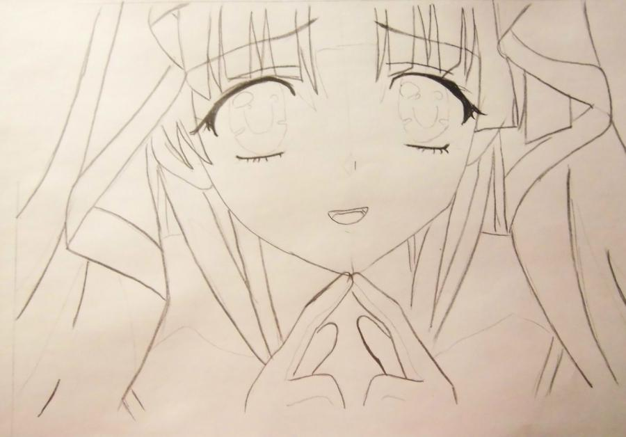How to draw Alice from an anime Pandora's Heart with a pencil 5