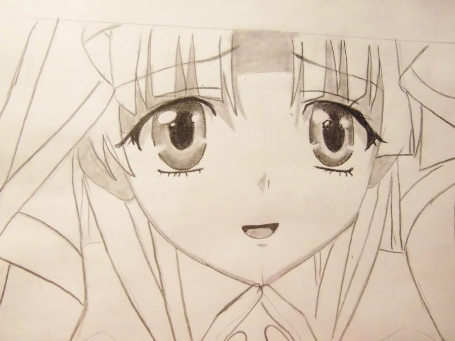 How to draw Alice from an anime Pandora's Heart with a pencil 6