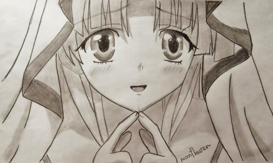 How to draw Alice from an anime Pandora's Heart with a pencil 8