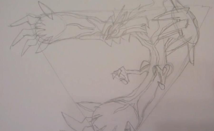 How to draw Skrelp from game Pok?mon X and Y pencil step by step 2